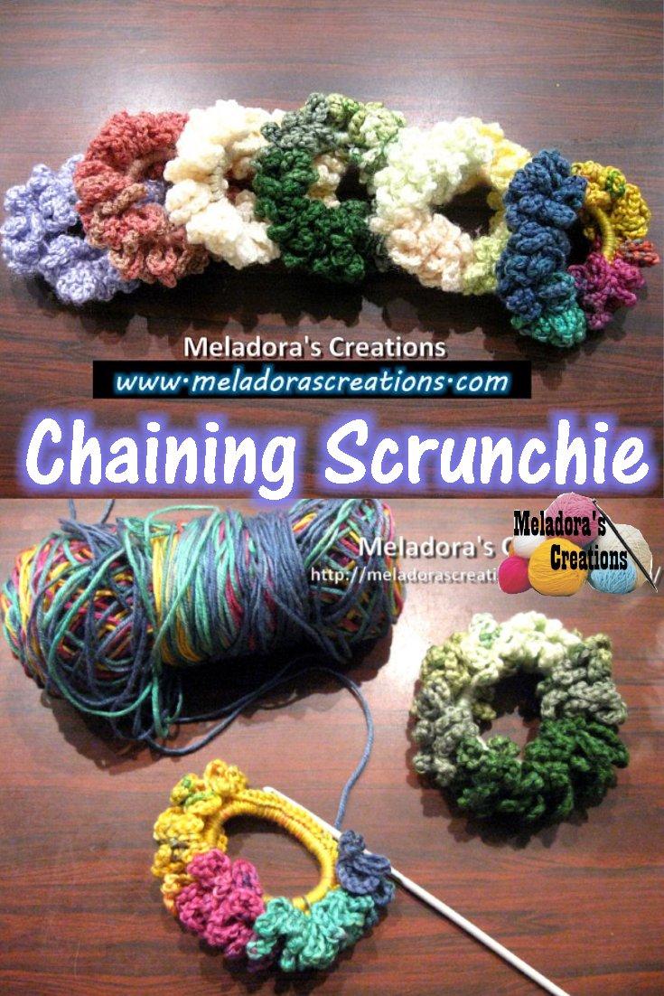 Chain Scrunchie Free Crochet Pattern and Tutorial