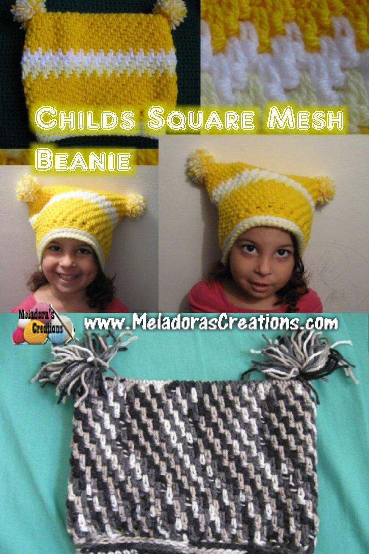 Childs Square Crochet Beanie - Free Crochet Pattern