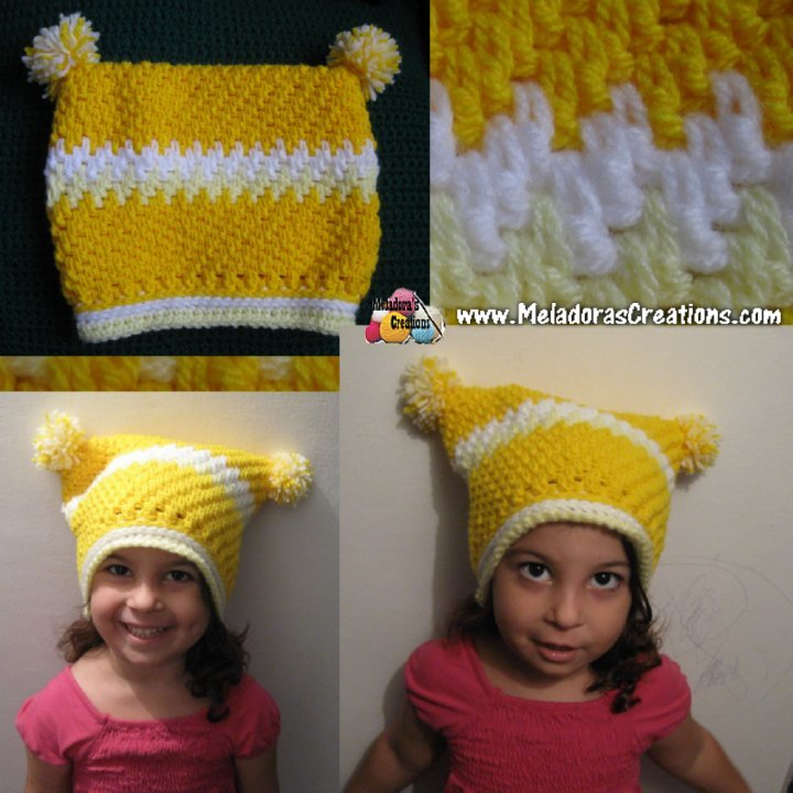 Meladoras Creations Childs Square Mesh Beanie Free Crochet Pattern