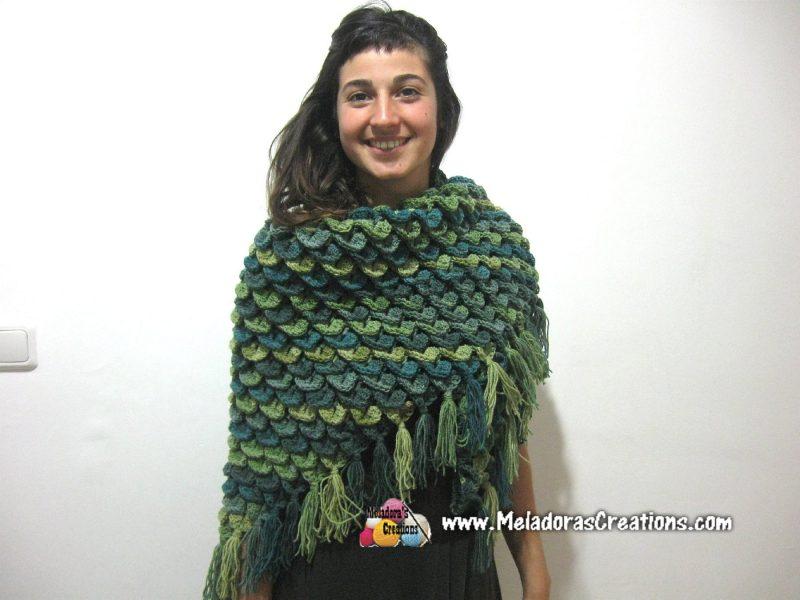 Crocodile Stitch Shawl Free Crochet Pattern