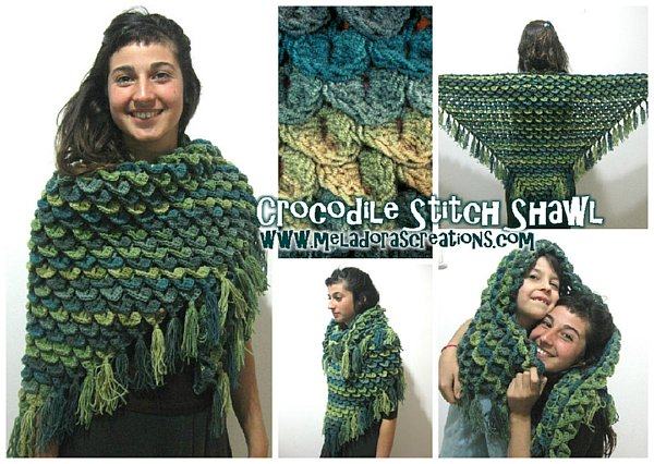 Crocodile Stitch Shawl Free Crochet Pattern