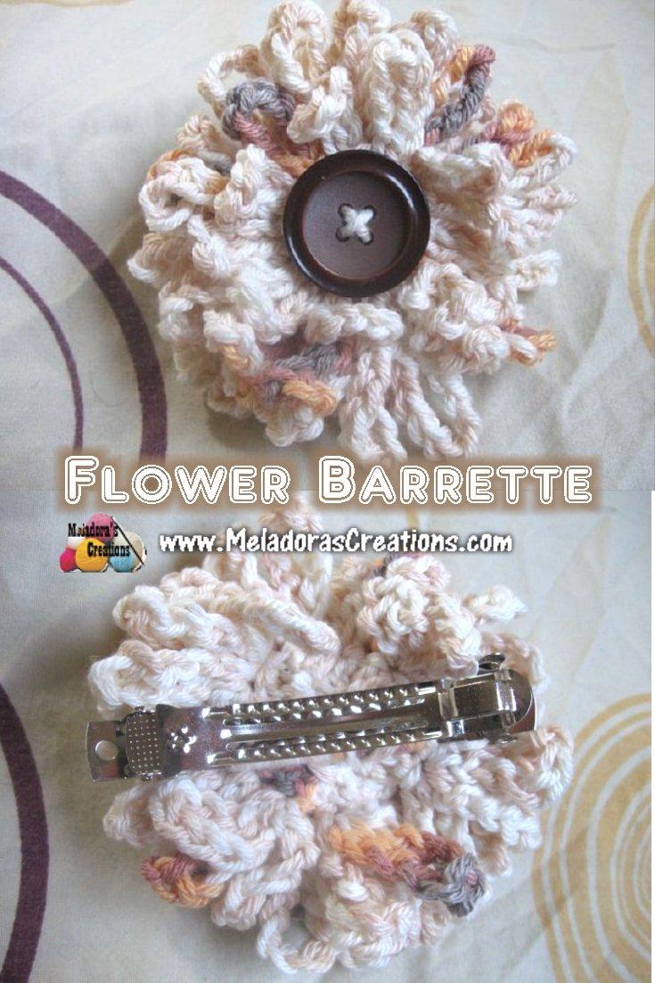 Flower Barrette - Free Crochet Pattern