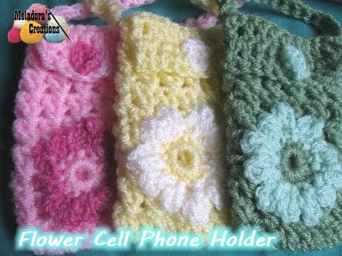Flower Cell Phone Holder Free Crochet Pattern