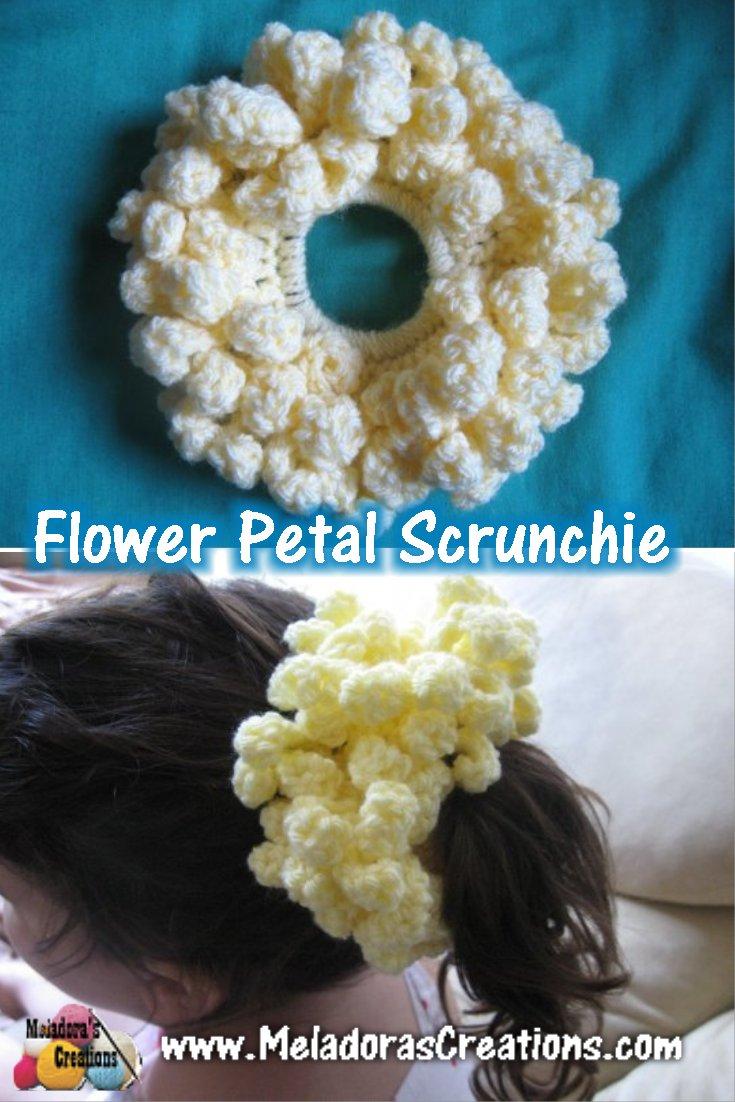 Flower Petal Scrunchie - Free Crochet Pattern