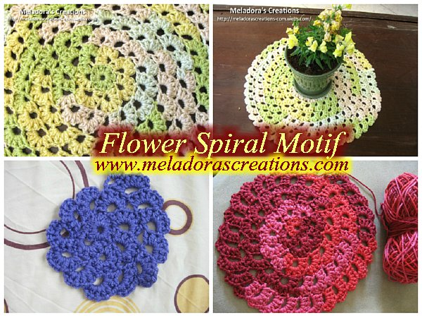 Spiral Crochet Flower Pattern Free : Meladoras Creations Flower Spiral Motif ? Free Crochet ...