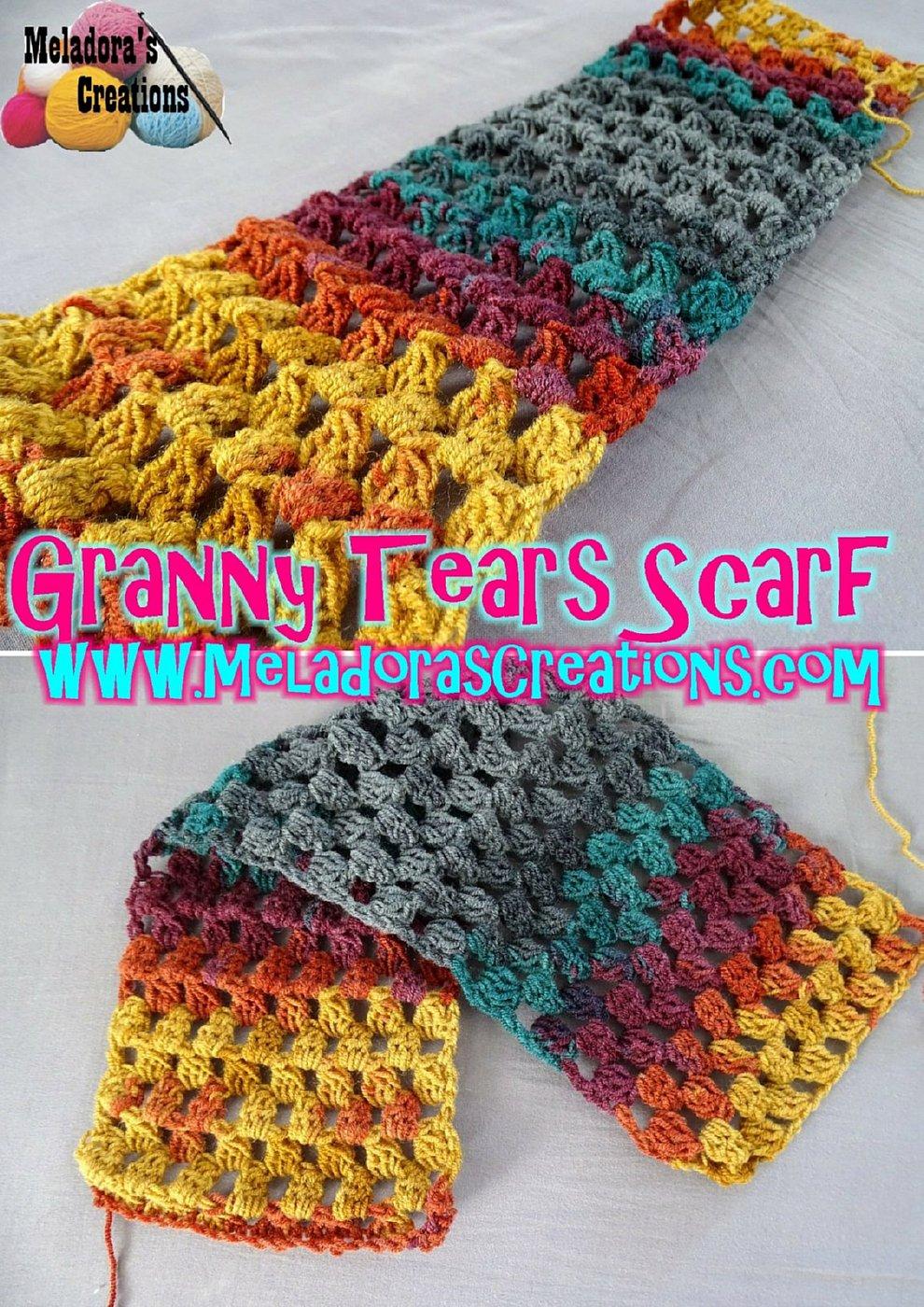 Granny Crochet Scarf- Free Crochet Pattern - Granny Tears Scarf