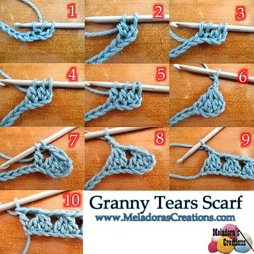 Meladoras Creations Granny Tears Scarf Free Crochet Pattern