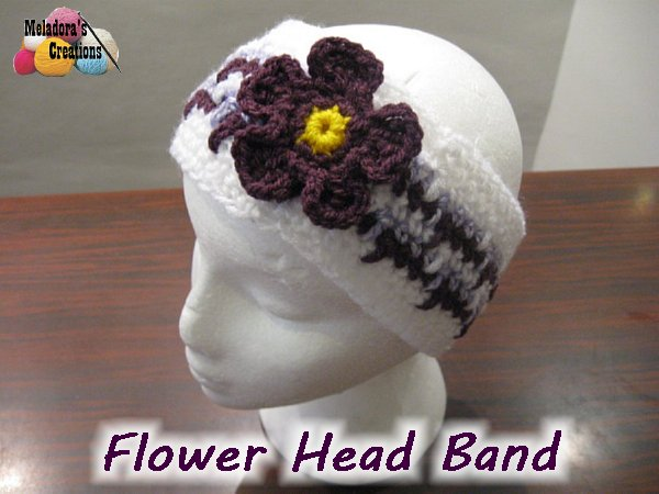 Flower Head Band Free Crochet Pattern Meladoras Creations