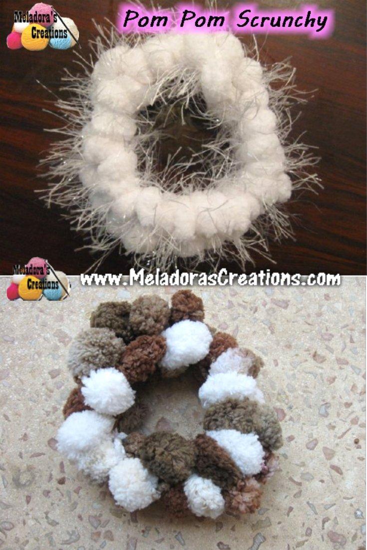 Pom Pom Scrunchy Free Crochet Pattern Meladoras Crea