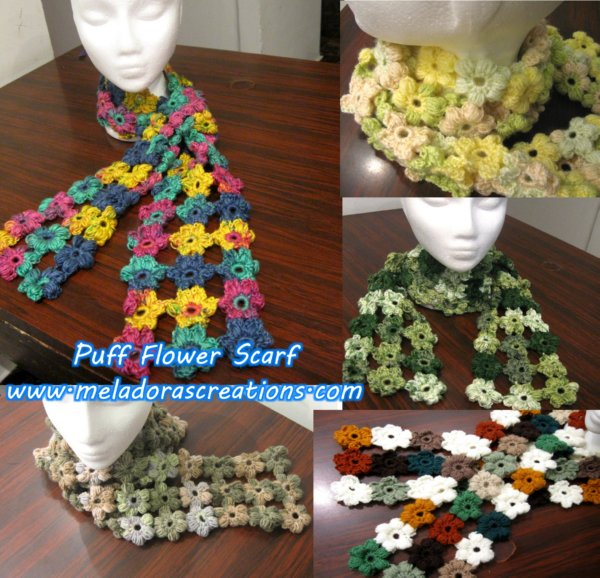 Puff Flower Scarf Free Crochet Pattern Meladoras Creations