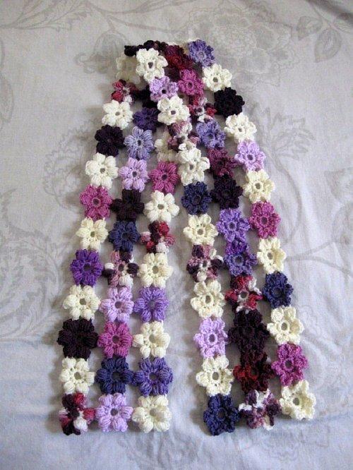 Crochet Puff Flower Scarf - Free Crochet Pattern