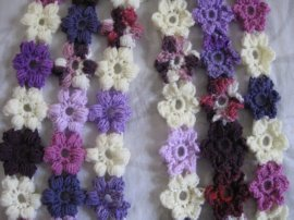 Crochet Puff Stitch Flower Free Pattern : Meladoras Creations Puff Flower Scarf ? Free Crochet Pattern