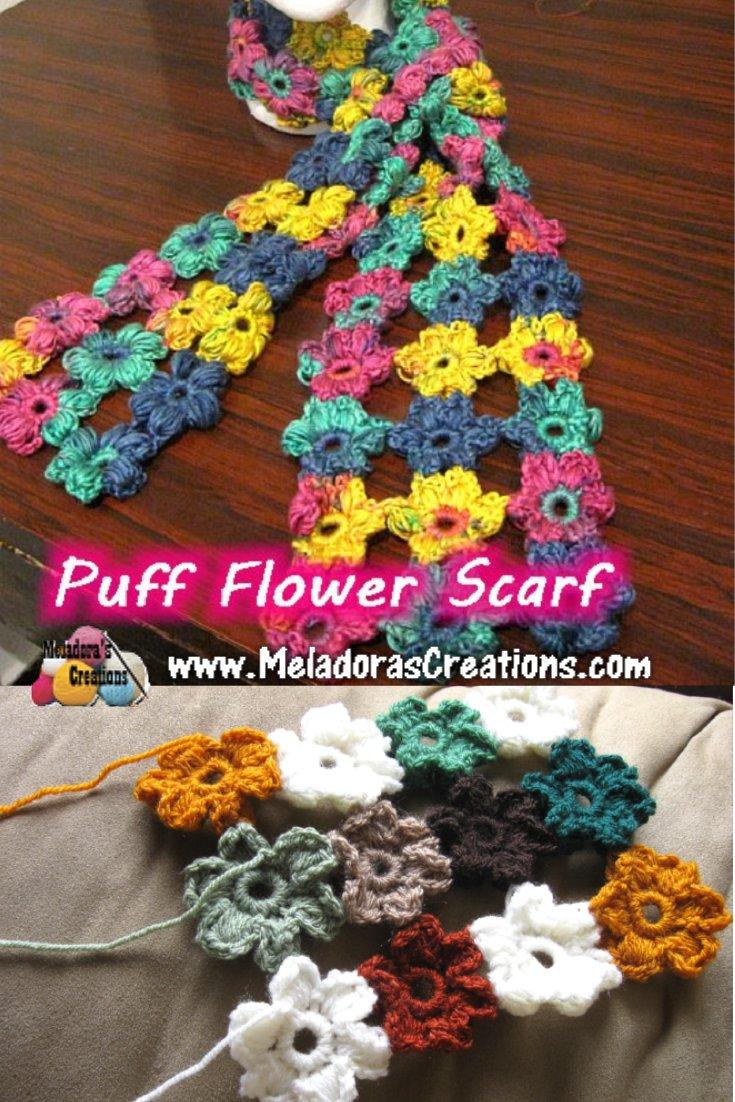 Meladora\'s Creations – Crochet Puff Flower Scarf – Free Crochet Pattern