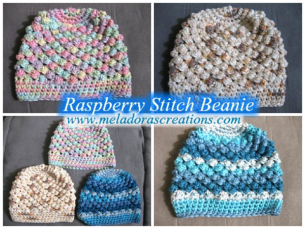 Meladoras Creations Raspberry Stitch Beanie All Sizes