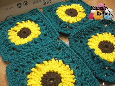 Sunflower Granny Square REDONE - 5