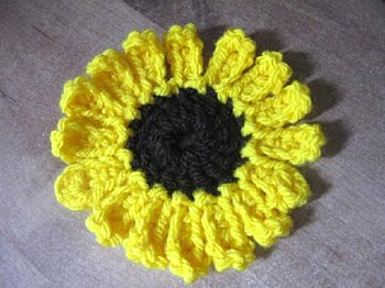 Crocheted Sunflower Granny Square - Free Crochet Pattern