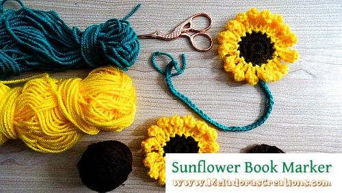 Sunflower Book Marker Free Crochet Pattern