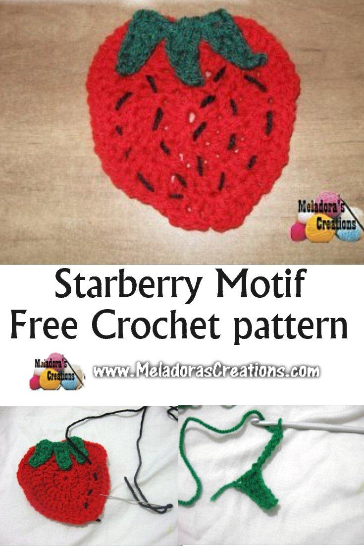 Crochet Strawberry Motif or Strawberry Applique – Free Crochet Pattern