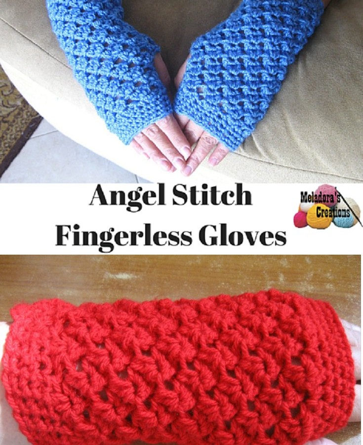 Crochet Fingerless Gloves Tutorial Butterfly Stitch : Meladoras Creations Finger less Gloves Archive