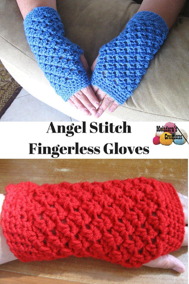 Angel Stitch Fingerless Gloves - Crochet Finger less Crochet Gloves - Free Crochet Pattern