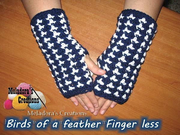 Birds Of A Feather Finger Less Gloves Free Crochet Pattern
