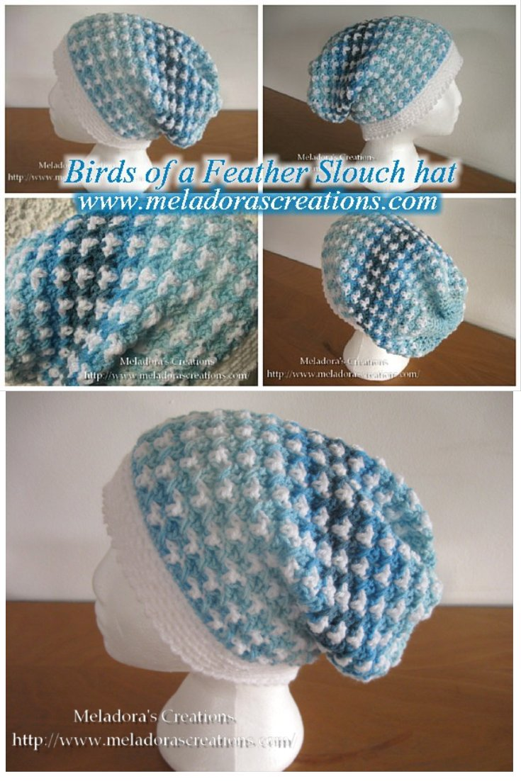 Birds of a Feather Crochet Slouch hat - Free Crochet Pattern and tutorial