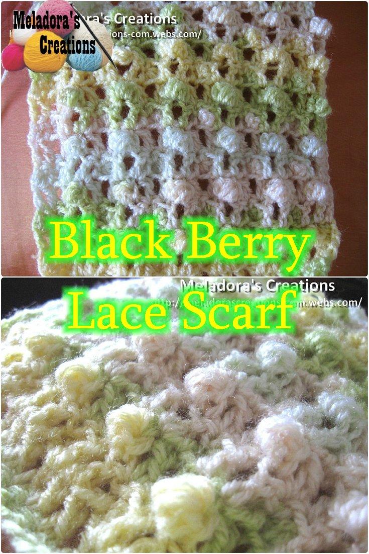Black Berry Lace Scarf - Free Crochet Pattern