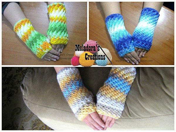 Crochet Fingerless Gloves Pattern - Brick Stitch Finger less Gloves - Free Crochet Patterns