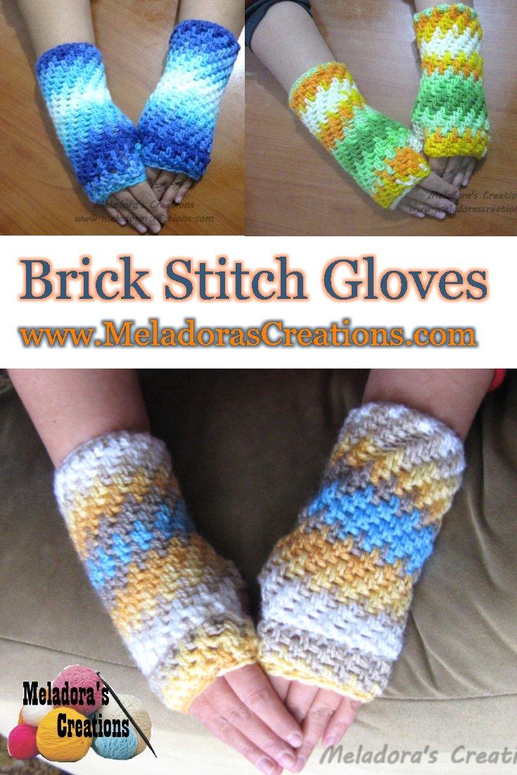 Brick Stitch Finger Less Gloves Free Crochet Pattern