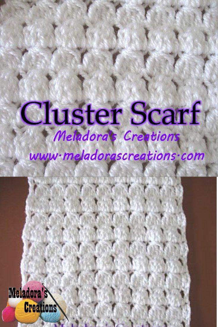 Meladoras Creations Cluster Stitch Scarf Free Crochet