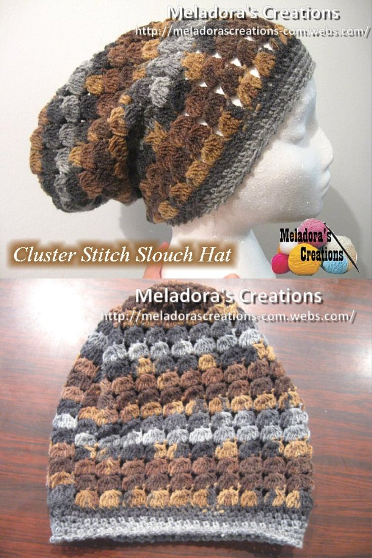 Cluster Stitch Slouch Hat - Free Crochet Pattern