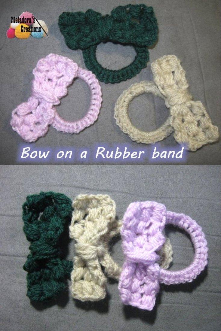 Crochet Bow Hair Tie - Free Crochet Pattern plus tutorial