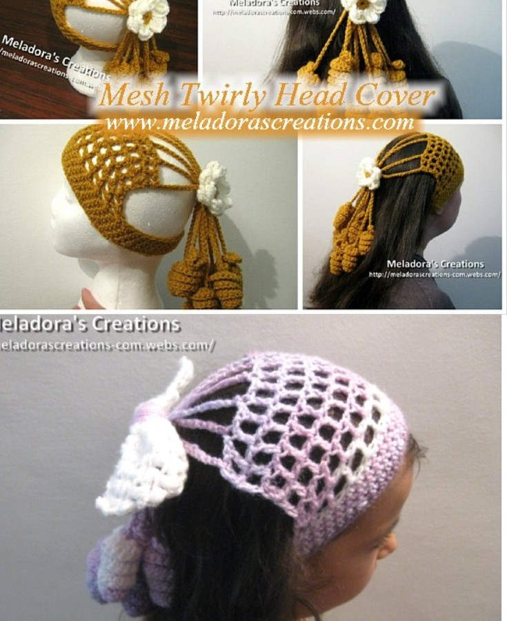Crochet Hair Jewelry : Crocheted Mesh Twirly Head Cover - Free Crochet Pattern