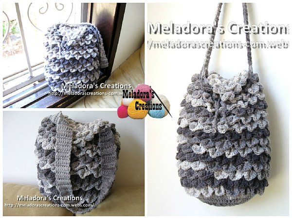 Meladoras Creations Crocodile Stitch Draw Bag Free Crochet Pattern
