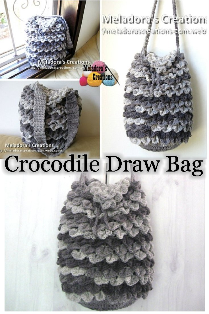 Meladora\'s Creations – Crocodile Stitch Draw Bag – Free Crochet Pattern