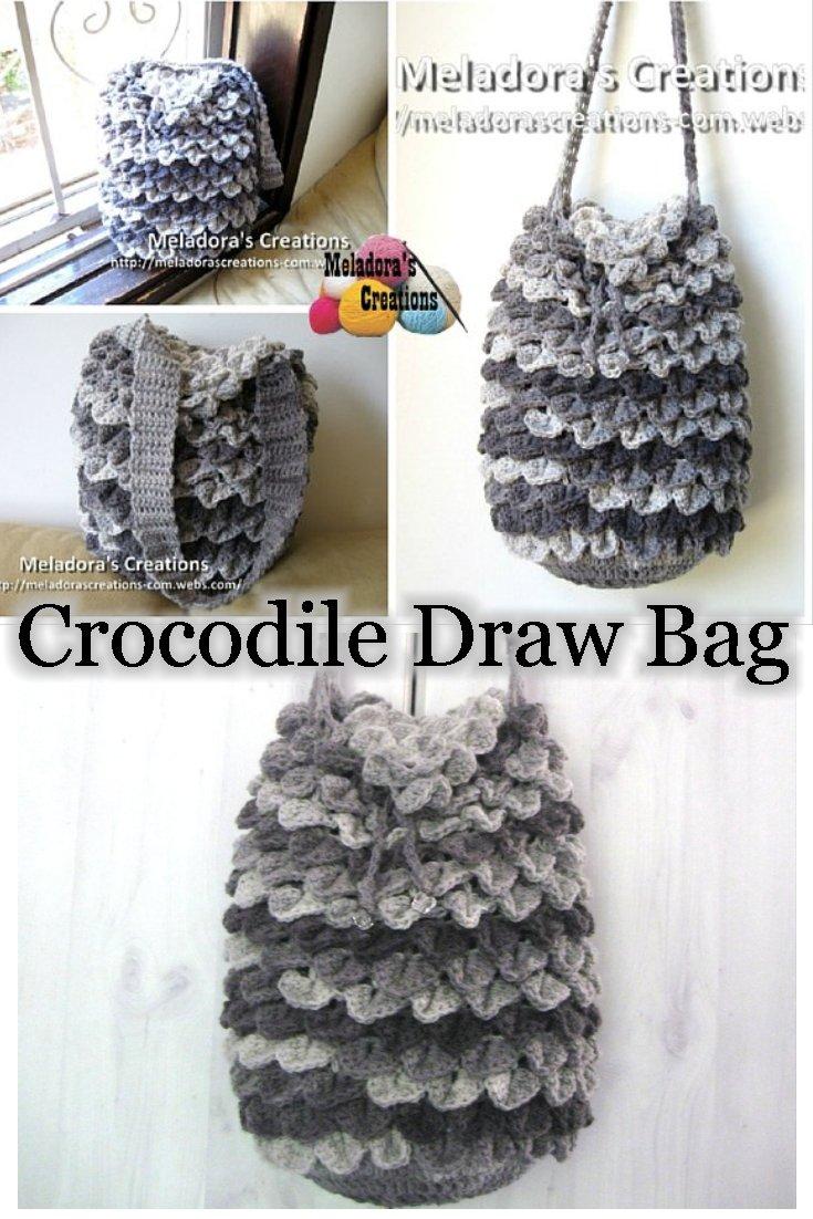 Meladora\'s Creations – Crocodile Stitch Draw Bag – Free Crochet Pattern