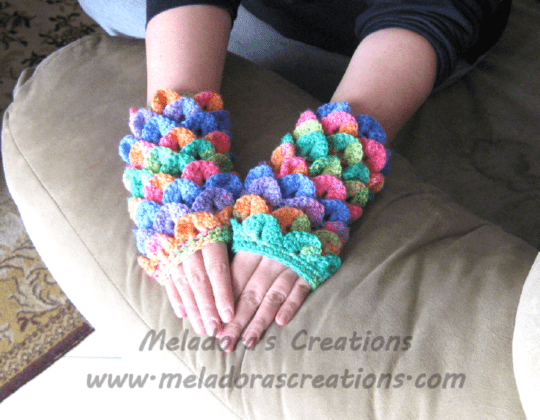 Crocodile Stitch Finger Less Gloves Free Crochet Pattern