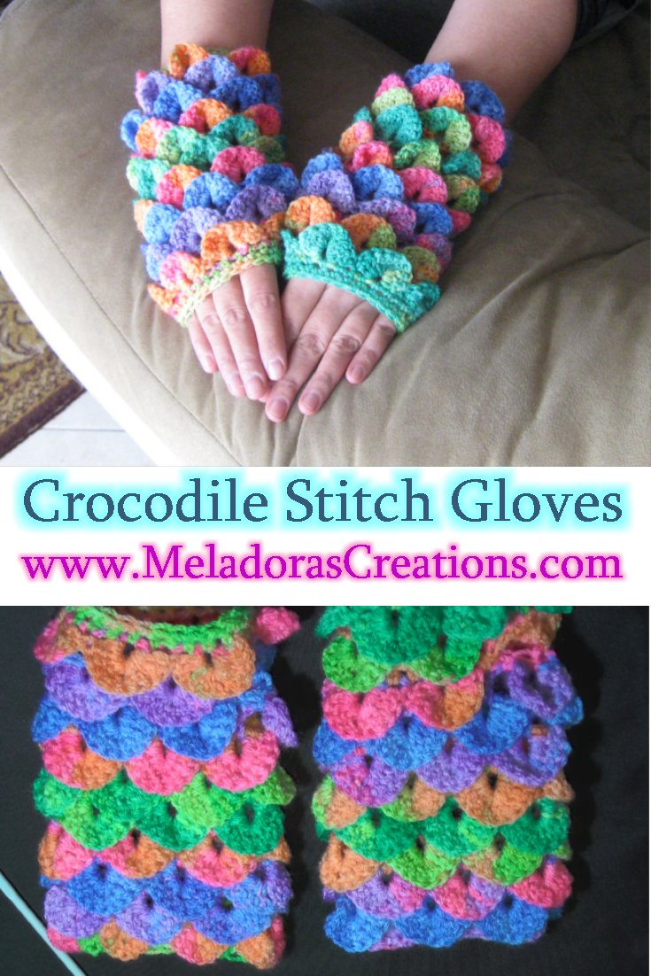 Meladora\'s Creations – Crocodile Stitch Finger less Gloves – Free ...