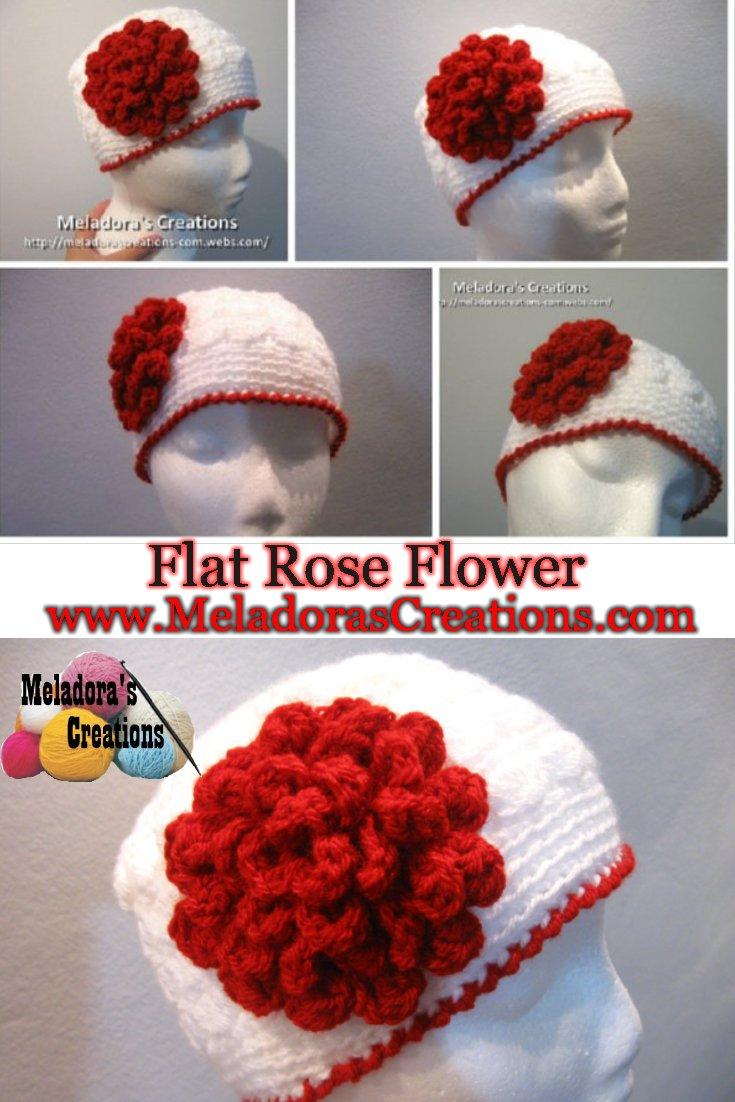 Flat Rose Flower - Free Crochet Pattern and Video tutorials