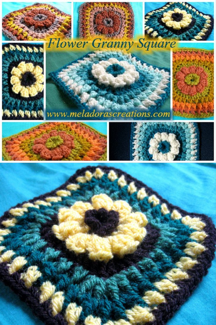 6 Flower Granny Square Free Crochet Pattern