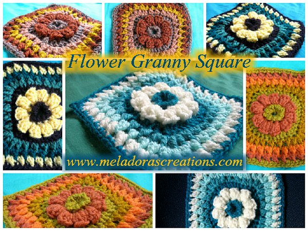 Crochet Pattern Granny Square With Flower : Meladoras Creations 6? Flower Granny Square ? Free ...