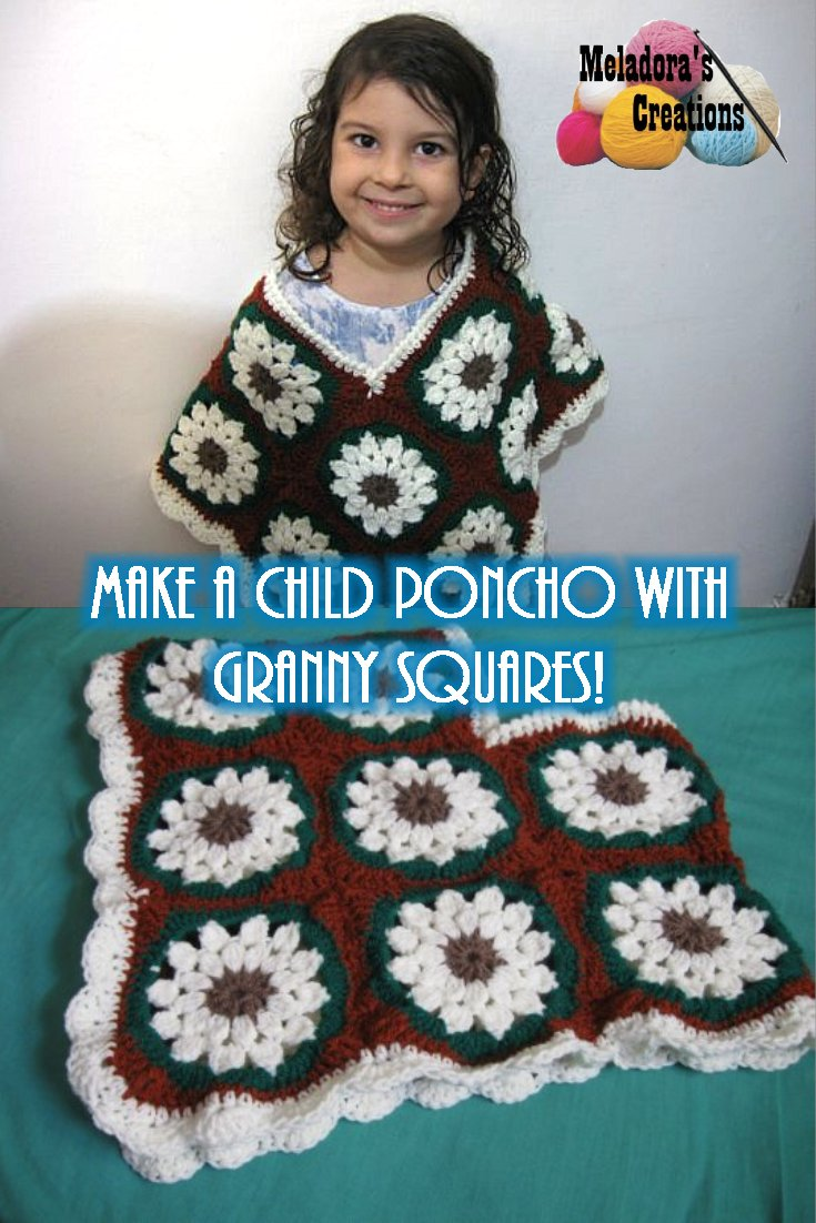 Child Granny Square Poncho - Free Crochet Pattern