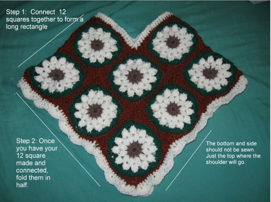 Child Granny Square Poncho Free Crochet Pattern