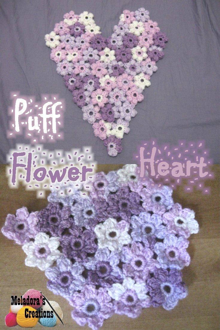 Puff Flower Heart Motif - Free Crochet Pattern