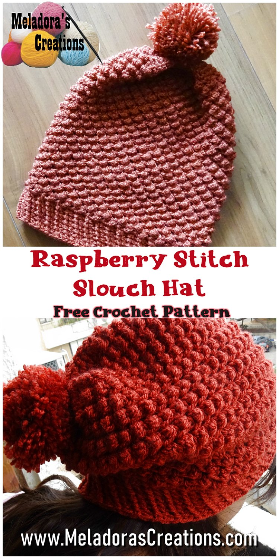 Raspberry Stitch Slouch Hat Free Crochet Pattern