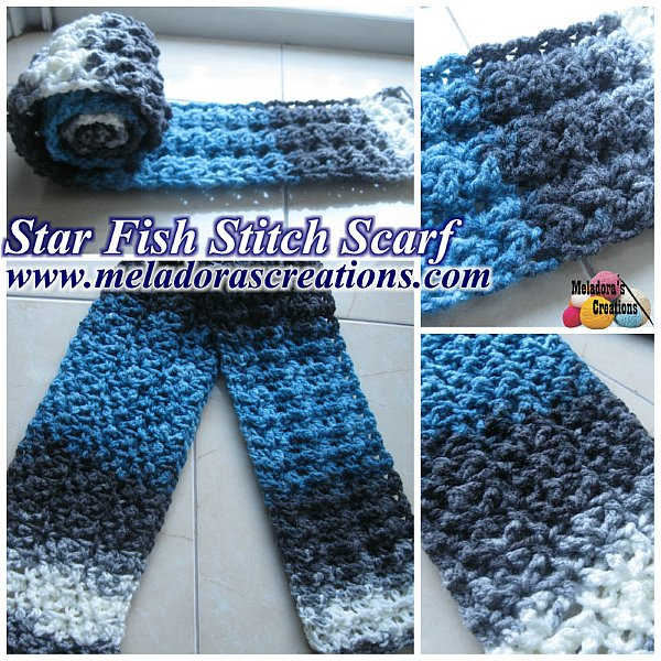 Free Crochet Patterns For Dressy Scarves : Meladoras Creations Star Fish Stitch Scarf ? Free ...