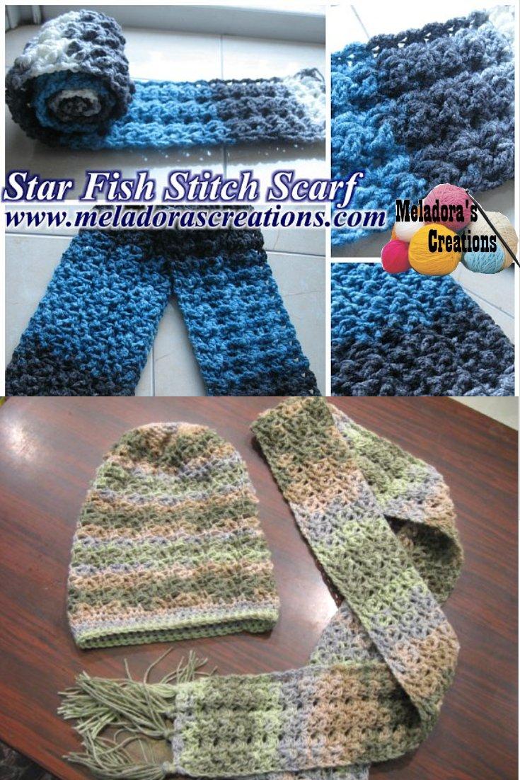 Meladora\'s Creations – Star Fish Stitch Scarf – Free Crochet Pattern