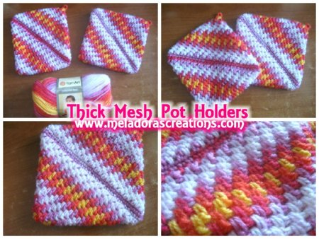 Thick Mesh Pot Holder Free Crochet Pattern