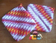 Thick Mesh Potholders yellow pink and purple SMALL