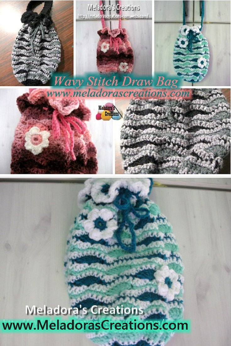 Meladora\'s Creations – Wavy Stitch Draw Bag – Free Crochet Pattern